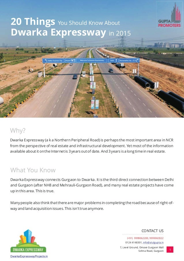20 Things You Should Know About Dwarka Expressway in 2015 Why? What You Know Dwarka Expressway (a k a Northern Peripheral ...