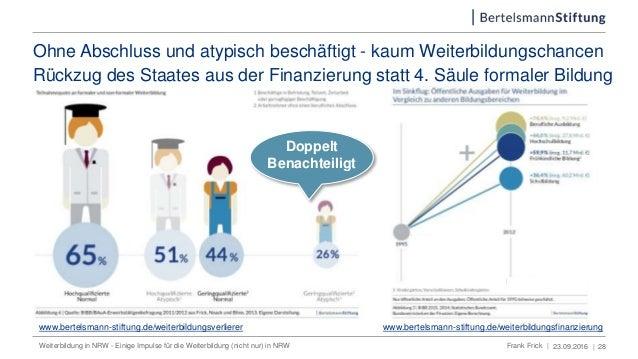 Ohne Abschluss und atypisch beschäftigt - kaum Weiterbildungschancen 23.09.2016 | 28 www.bertelsmann-stiftung.de/weiterbil...