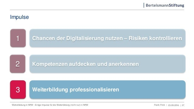Impulse 23.09.2016 | 1 Chancen der Digitalisierung nutzen – Risiken kontrollieren 2 Kompetenzen aufdecken und anerkennen 3...