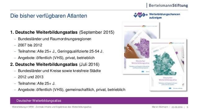 Die bisher verfügbaren Atlanten 1. Deutsche Weiterbildungsatlas (September 2015)  Bundesländer und Raumordnungsregionen ...