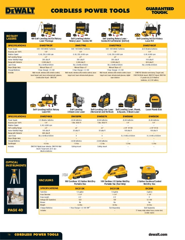 Dewalt Cordless Powertools Catalogue