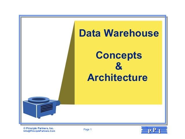 © Principle Partners, Inc. Info@PrinciplePartners.Com Page 1 PPPP II Data Warehouse Concepts & Architecture