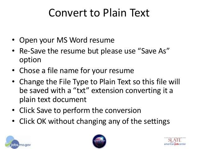 plain text resumes