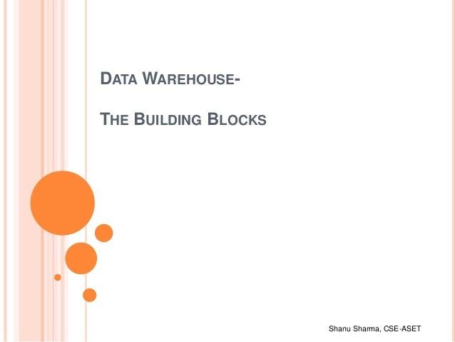 Shanu Sharma, CSE-ASET DATA WAREHOUSE- THE BUILDING BLOCKS