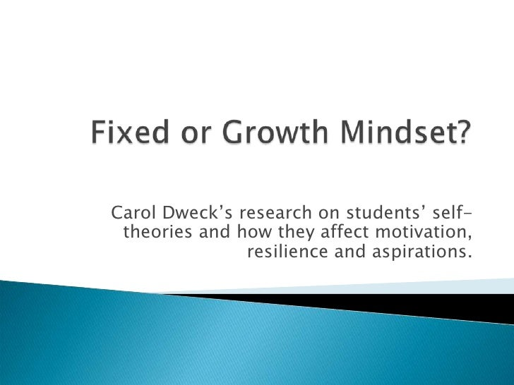 Carol Dweck's research on students' self- theories and how they affect motivation,               resilience and aspirations.