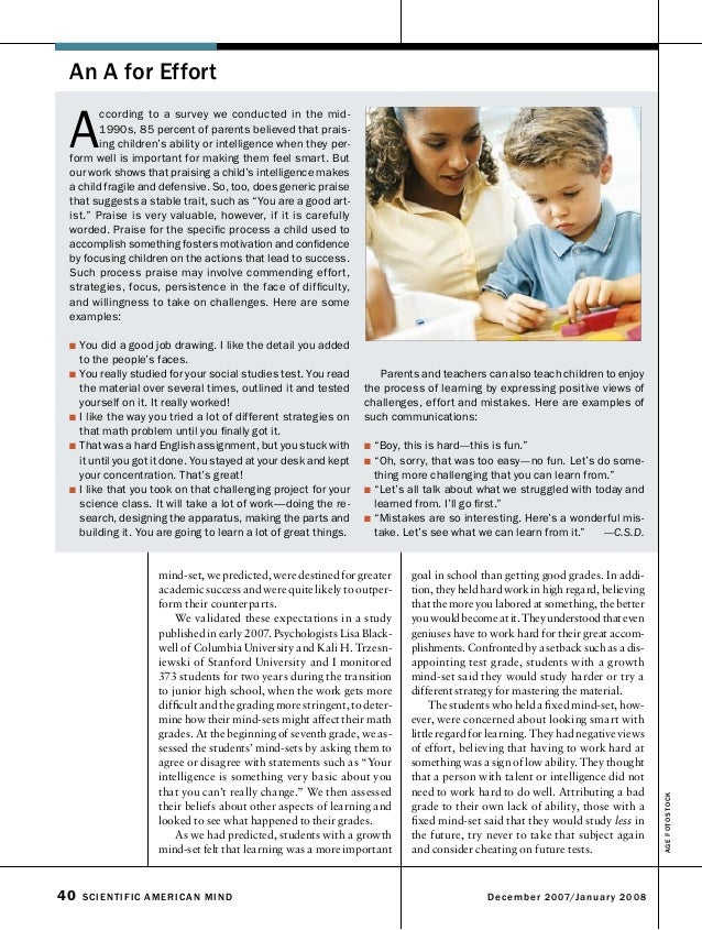 Analysis Of The Article 'The Secret To Raising Smart Kids