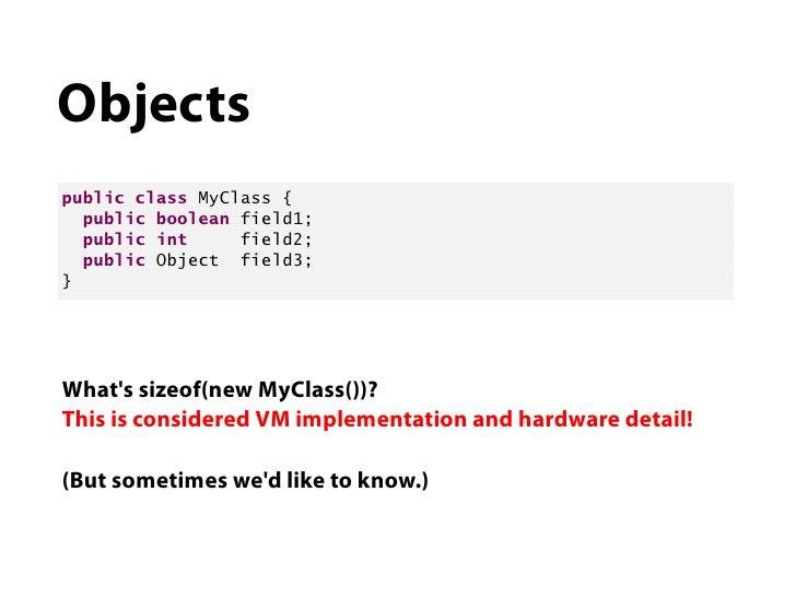 Objectspublic class MyClass {  public boolean field1;  public int     field2;  public Object field3;}Whats sizeof(new MyCl...