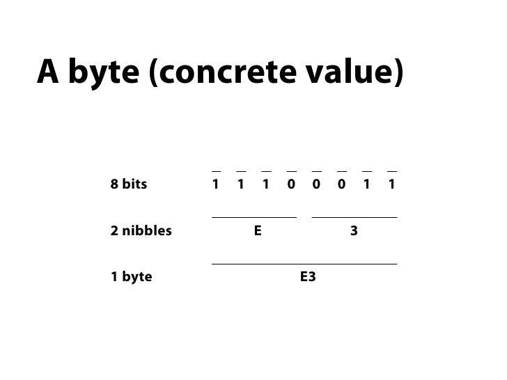 A byte (concrete value)    8 bits      1   1       1   0    0   0       1   1    2 nibbles           E                    ...
