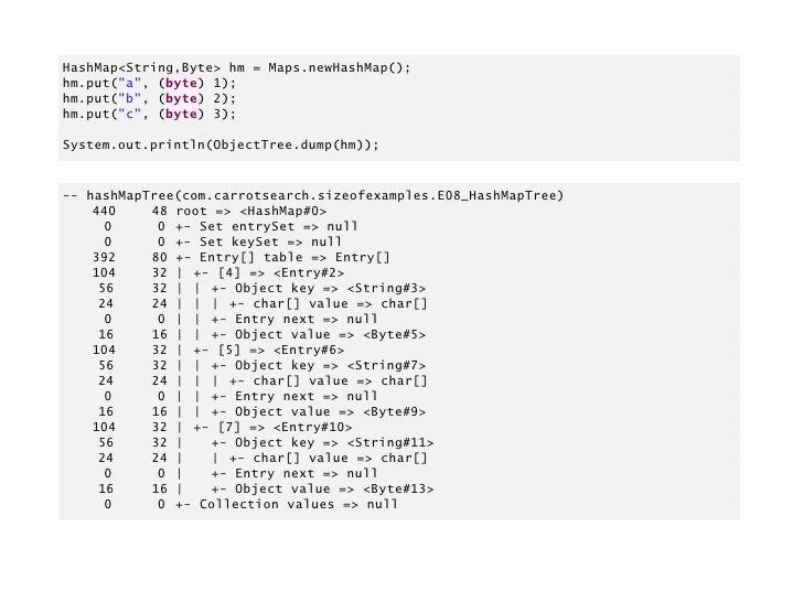 java-sizeof            https://github.com/dweiss/java-sizeof       Ready-to-use code, including object hexdumper.Similar c...