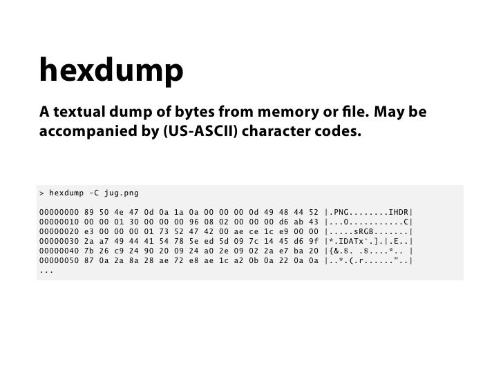 hexdumpA textual dump of bytes from memory or le. May beaccompanied by (US-ASCII) character codes.> hexdump -C jug.png0000...