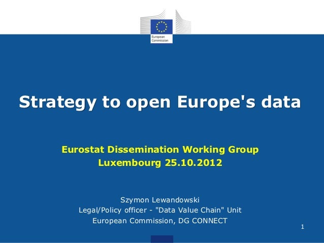 Strategy to open Europes data    Eurostat Dissemination Working Group           Luxembourg 25.10.2012                   Sz...