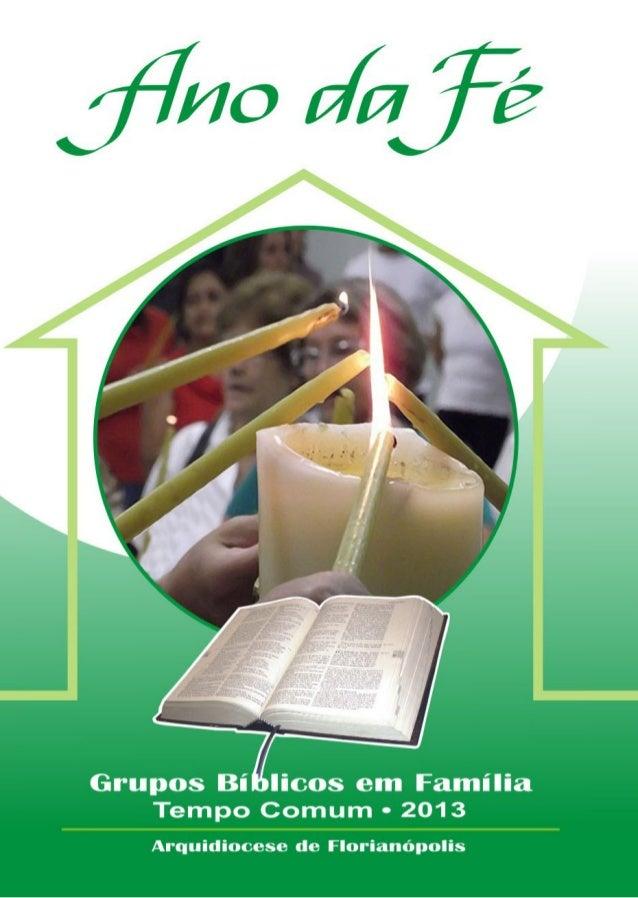 Encontros para os Grupos Bíblicos em Família Tempo Comum – 2013 ANO DA FÉ Arquidiocese de Florianópolis