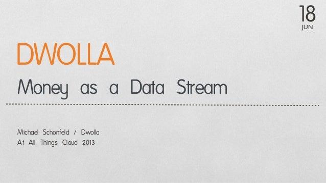 JUN18Money as a Data StreamMichael Schonfeld / DwollaAt All Things Cloud 2013DWOLLA