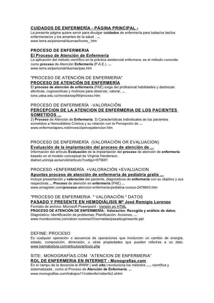 CUIDADOS DE ENFERMERÍA - PÁGINA PRINCIPAL - La presente página quiere servir para divulgar cuidados de enfermería para tod...