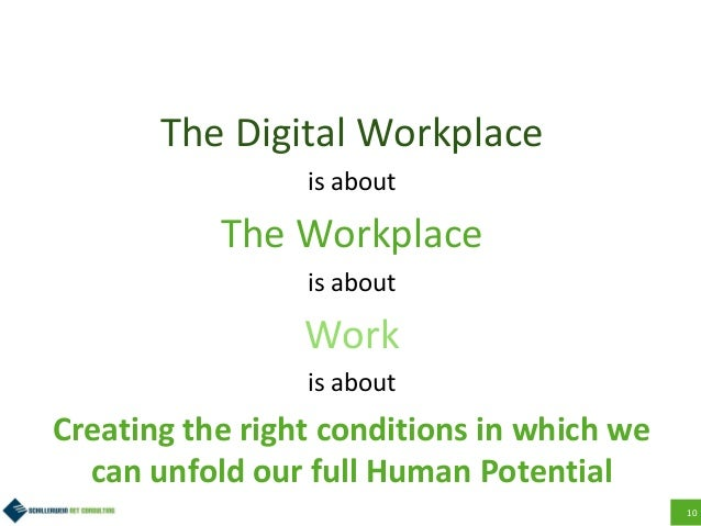 10 The Digital Workplace is about The Workplace is about Work is about Creating the right conditions in which we can unfol...