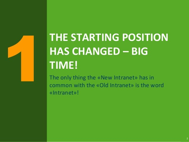 2 THE STARTING POSITION HAS CHANGED – BIG TIME! The only thing the «New Intranet» has in common with the «Old Intranet» is...