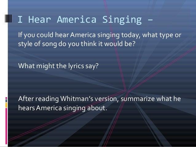 i hear america singing song