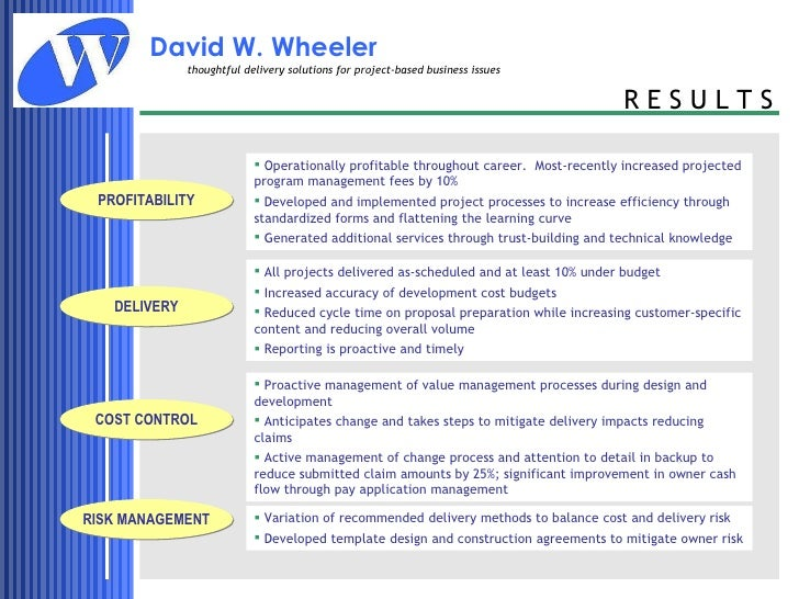Qualifications and Experience of David W  Wheeler