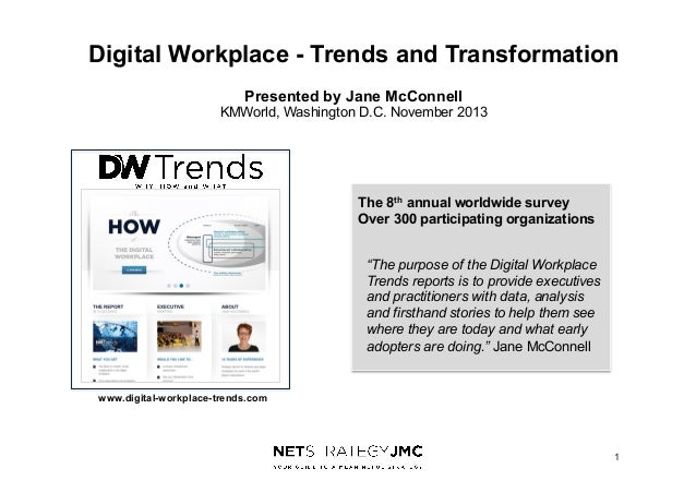Digital Workplace - Trends and Transformation Presented by Jane McConnell KMWorld, Washington D.C. November 2013  The 8th ...