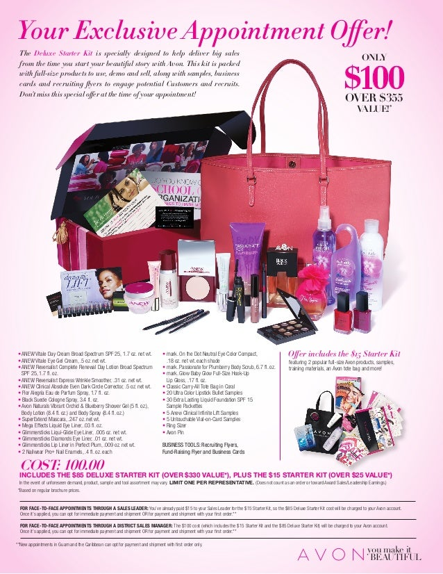 Appointment kit choices for new Avon representatives