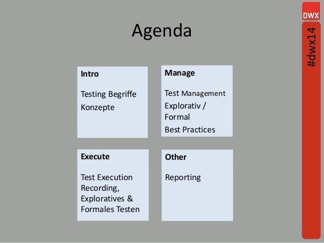 Agenda 3 Intro Testing Begriffe Konzepte Manage Test Management Explorativ / Formal Best Practices Execute Test Execution ...