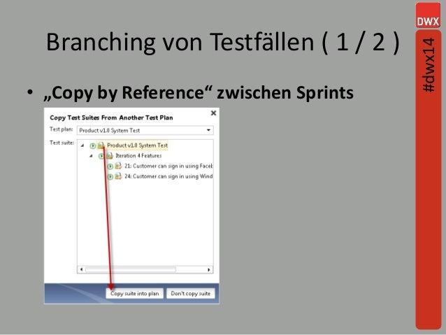 """Branching von Testfällen ( 1 / 2 ) • """"Copy by Reference"""" zwischen Sprints #dwx14"""