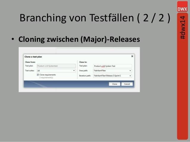 Branching von Testfällen ( 2 / 2 ) • Cloning zwischen (Major)-Releases #dwx14
