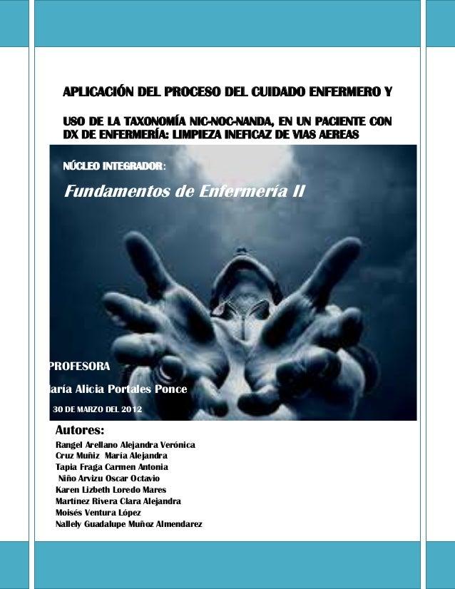 APLICACIÓN DEL PROCESO DEL CUIDADO ENFERMERO Y USO DE LA TAXONOMÍA NIC-NOC-NANDA, EN UN PACIENTE CON DX DE ENFERMERÍA: LIM...