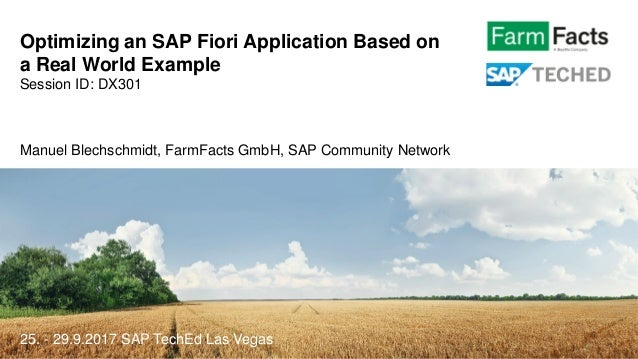 Optimizing an SAP Fiori Application Based on a Real World Example Session ID: DX301 Manuel Blechschmidt, FarmFacts GmbH, S...