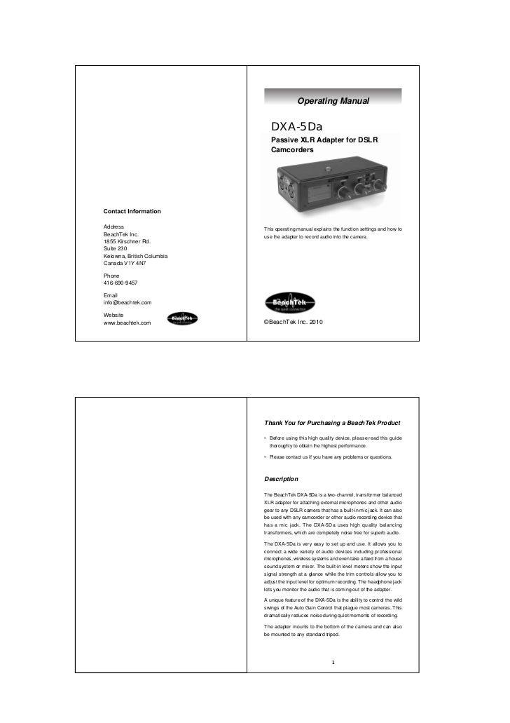 Operating Manual                               DXA-5Da                               Passive XLR Adapter for DSLR         ...