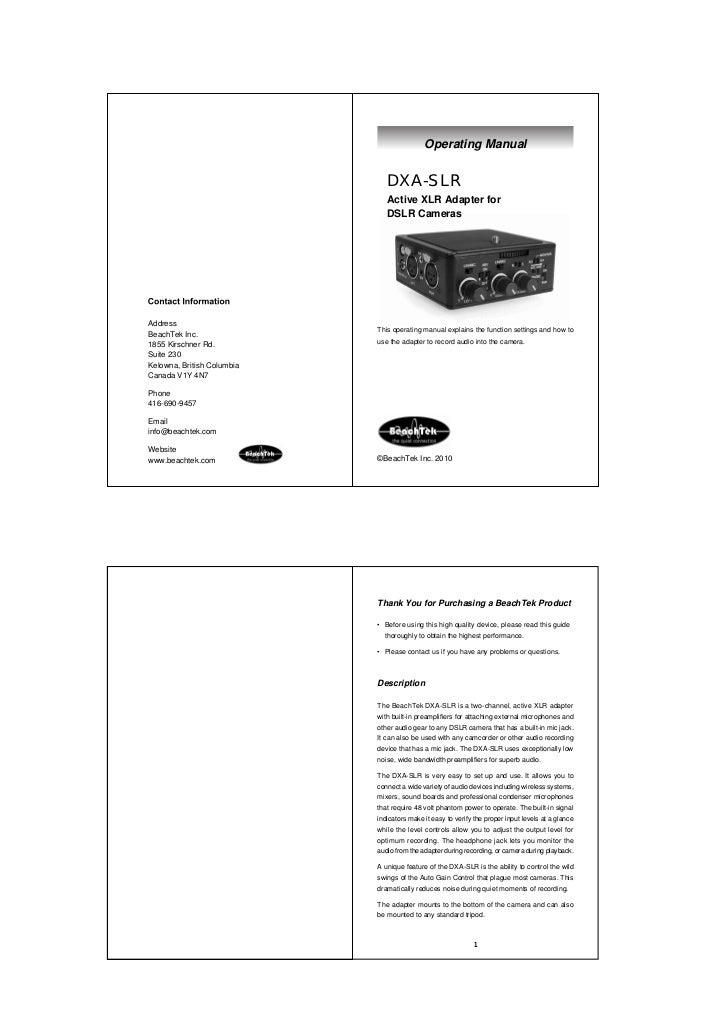 Operating Manual                               DXA-SLR                               Active XLR Adapter for               ...