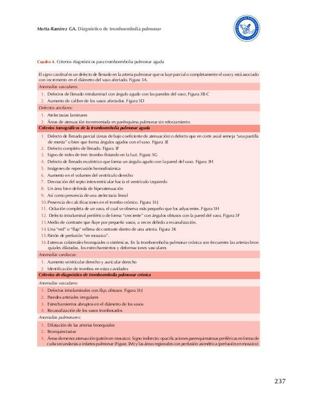 237 Motta-Ramírez GA. Diagnóstico de tromboembolia pulmonar Cuadro 4. Criterios diagnósticos para tromboembolia pulmonar a...