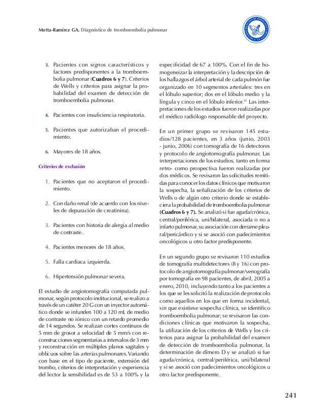 241 Motta-Ramírez GA. Diagnóstico de tromboembolia pulmonar 3. Pacientes con signos característicos y factores predisponen...