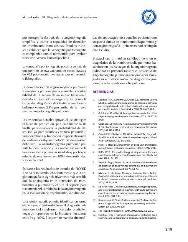 249 Motta-Ramírez GA. Diagnóstico de tromboembolia pulmonar por tomografía después de la angiotomografía simplifica y acor...