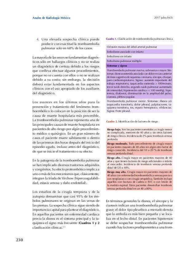 230 Anales de Radiología México 2017 julio;16(3) 4. Una elevada sospecha clínica puede predecir con exactitud la tromboemb...