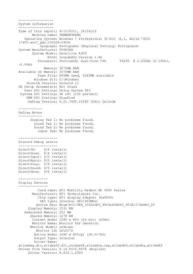 ------------------System Information------------------Time of this report: 4/15/2011, 18:56:03Machine name: TAMBEMTEAMOOpe...