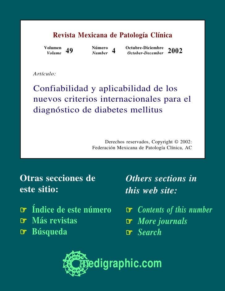 Revista Mexicana de Patología Clínica        Volumen        Número        Octubre-Diciembre         Volume   49   Number  ...