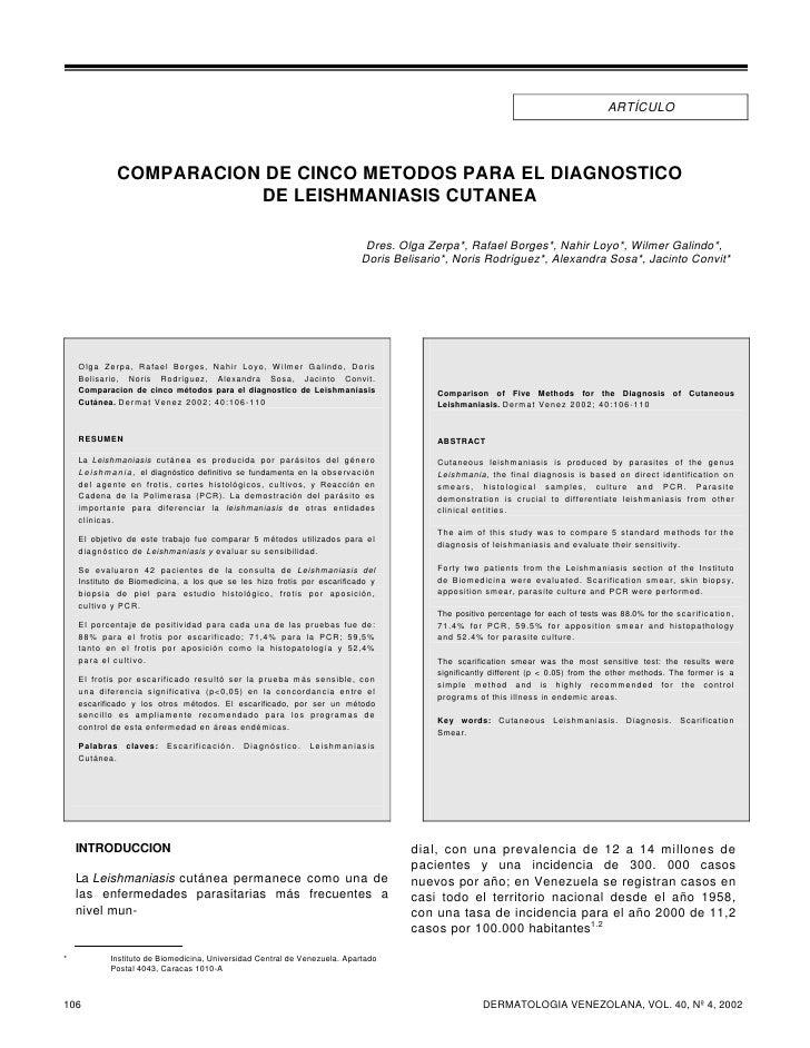 ARTÍCULO                   COMPARACION DE CINCO METODOS PARA EL DIAGNOSTICO                          DE LEISHMANIASIS CUTA...