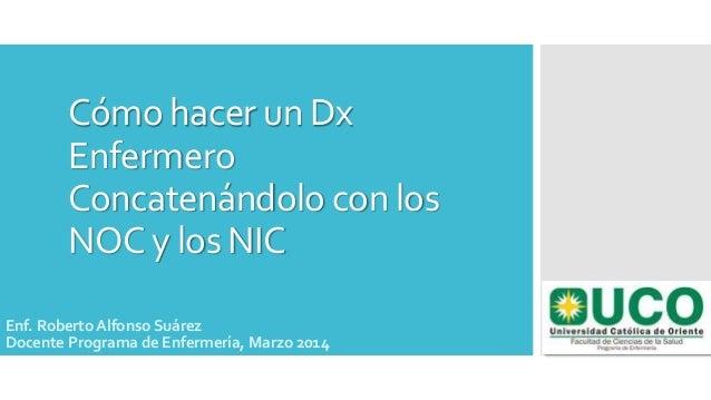 Cómo hacer un Dx Enfermero Concatenándolo con los NOC y los NIC Enf. Roberto Alfonso Suárez Docente Programa de Enfermería...