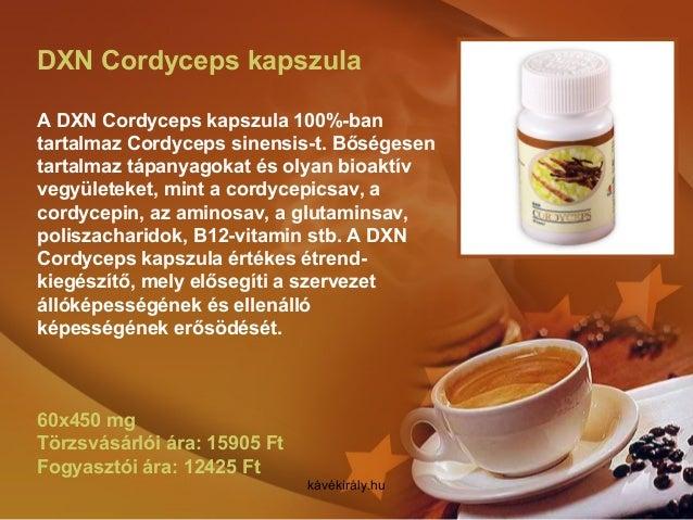 DXN Cordyceps kapszula A DXN Cordyceps kapszula 100%-ban tartalmaz Cordyceps sinensis-t. Bőségesen tartalmaz tápanyagokat ...