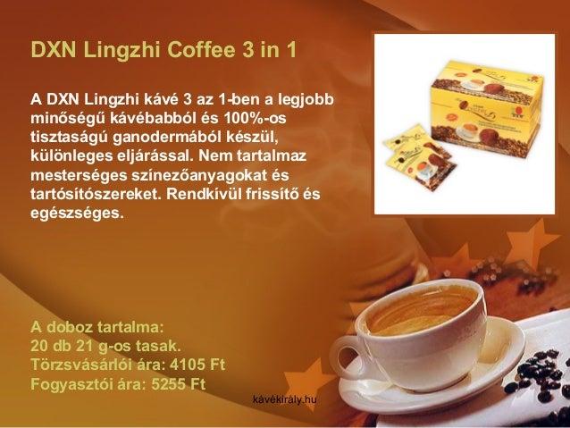DXN Lingzhi Coffee 3 in 1 A DXN Lingzhi kávé 3 az 1-ben a legjobb minőségű kávébabból és 100%-os tisztaságú ganodermából k...
