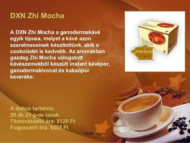 DXN Zhi Mocha A DXN Zhi Mocha a ganodermakávé egyik típusa, melyet a kávé azon szerelmeseinek készítettünk, akik a csokolá...