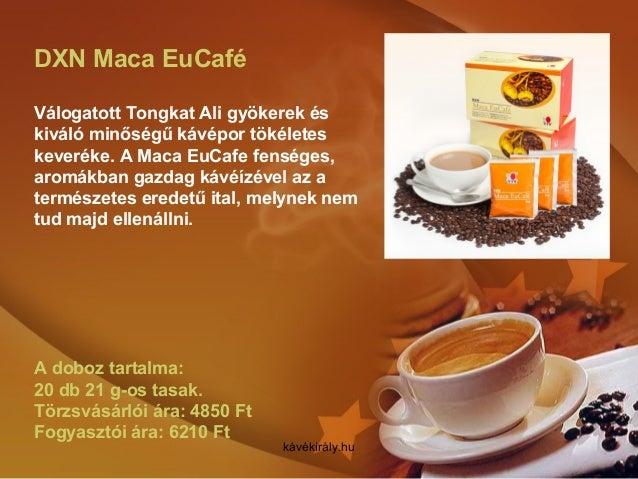 DXN Maca EuCafé Válogatott Tongkat Ali gyökerek és kiváló minőségű kávépor tökéletes keveréke. A Maca EuCafe fenséges, aro...