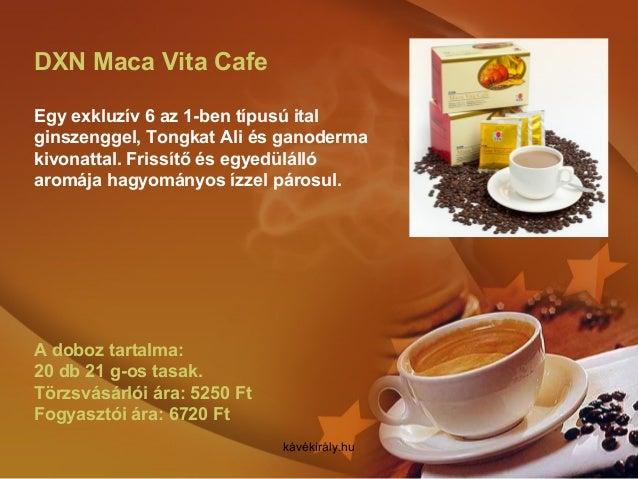 DXN Maca Vita Cafe Egy exkluzív 6 az 1-ben típusú ital ginszenggel, Tongkat Ali és ganoderma kivonattal. Frissítő és egyed...