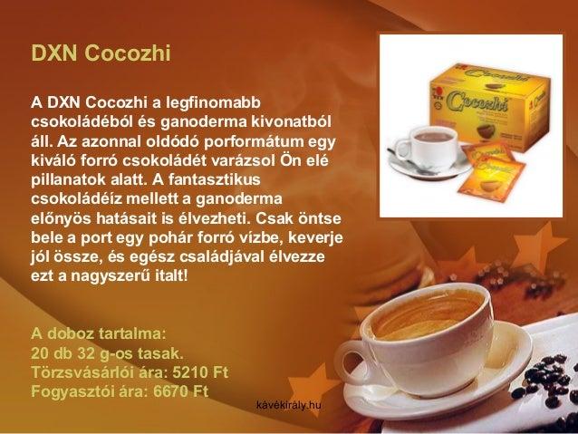 DXN Cocozhi A DXN Cocozhi a legfinomabb csokoládéból és ganoderma kivonatból áll. Az azonnal oldódó porformátum egy kiváló...