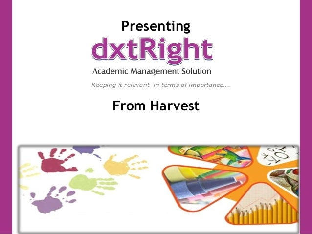 Presenting From Harvest Keeping it relevant in terms of importance….