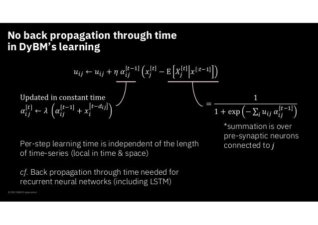 No back propagation through time in DyBM's learning © 2019 IBM Corporation : [ ] *summation is over pre-synaptic neurons c...