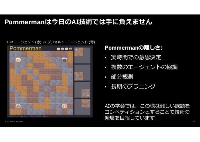 Pommermanは今日のAI技術では手に負えません © 2019 IBM Corporation Pommermanの難しさ: • 実時間での意思決定 • 複数のエージェントの協調 • 部分観測 • ⾧期のプラニング AIの学会では、この様な...