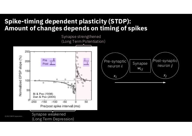 Spike-timing dependent plasticity (STDP): Amount of changes depends on timing of spikes © 2019 IBM Corporation Synapse str...
