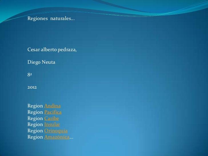 Regiones naturales…Cesar alberto pedraza,Diego Neuta8ª2012Region AndinaRegion PacificaRegion CaribeRegion InsularRegion Or...